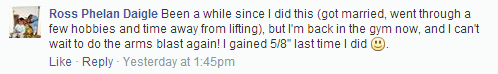 Facebook user gains 5/8ths inch with the Arms Blast!