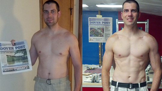 Dave after just 6 weeks on THT as an ectomorph. More muscle and less fat as THT promises.