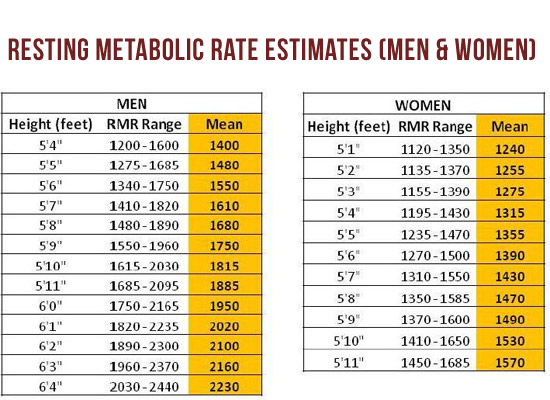 Resting Metabolic Rate Chart